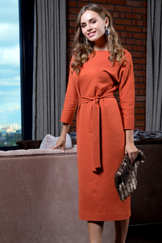 Платье с рукавами летучая мышь и длинным поясом RUXARA