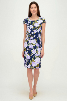 Синее платье с фиолетовыми цветами Viserdi
